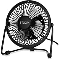 BTOOP 4 Inch Mini USB Desk Fan - Small - Black