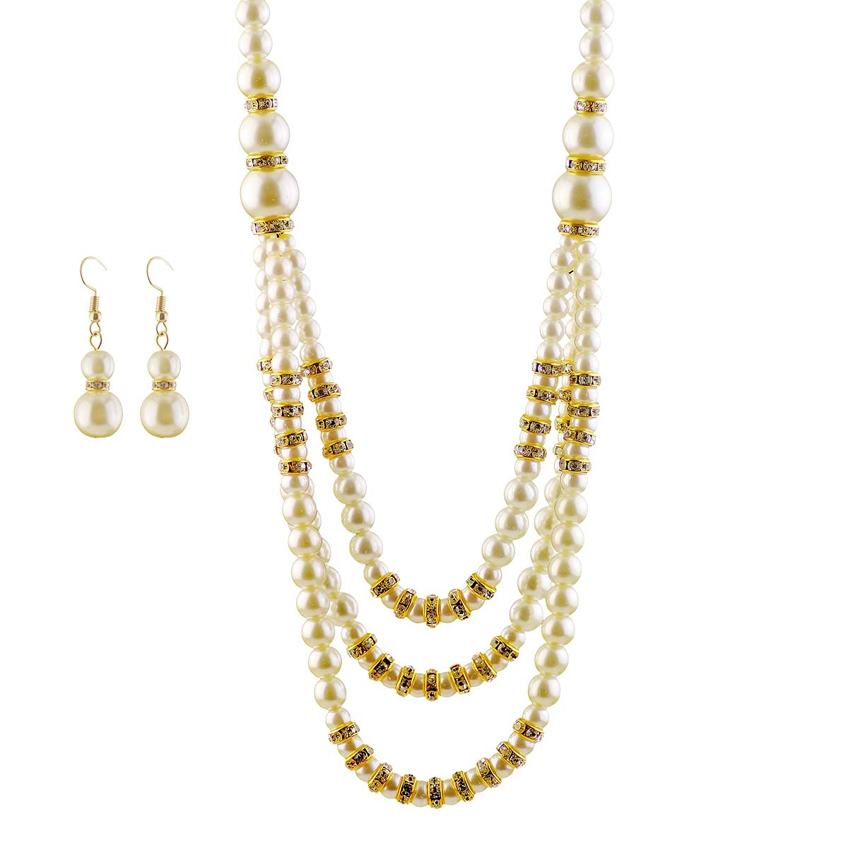 Merdia Stunning Glass Faux Pearl Necklace and Dangle Hook Earrings Set for Wedding