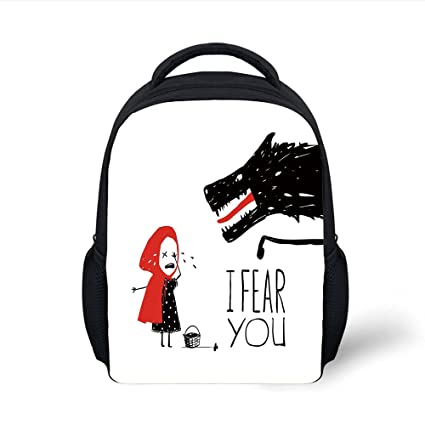 1835fa93a6b2 Amazon.com: iPrint Kids School Backpack Wolf,Fairy Tale Design with ...