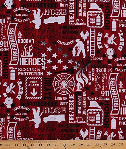 - Cotton Firefighters Firemen Fire Engines Trucks Words Fonts Sayings Fire Department Emblem Equipment Flames Heroes Fire & Rescue on Red Cotton Fabric Print by the Yard (FIRE-C5502)
