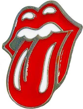 Lilie Créa - Broche de lengua Rolling Stones, color rojo y plateado