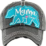 Funky Junque H-212-MBEAR06 Distressed Baseball Cap Vintage Dad Hat - Mama (Large) Bear(Black)