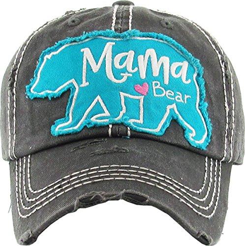 (H-212-MBEAR06 Distressed Baseball Cap Dad Hat - Mama (Large) Bear(Black))