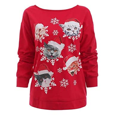 b3ac7473dff VECDY Fashion Women Top Shirt Casual Long Sleeve Christmas Cat Snowflake  Print O-Neck Warm Blouse: Amazon.co.uk: Clothing
