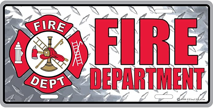 FIRE RESCUE Department American Flag Metal License Plate Embossed Car Truck Tag