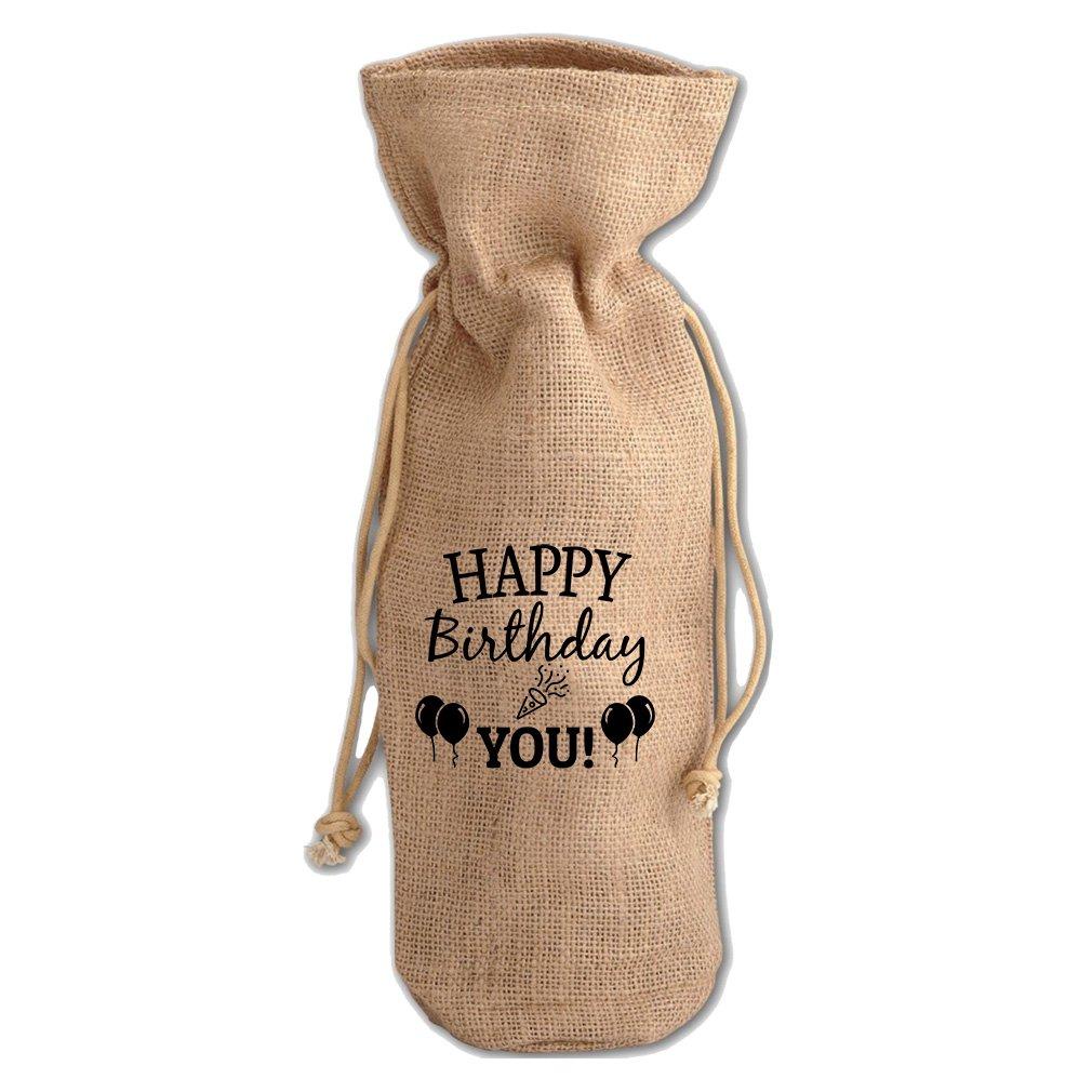Happy Birthday To You #2 Jute Burlap Burlap Wine Drawstring Bag Wine Sack