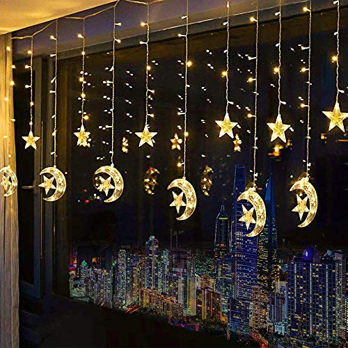 Led Star Curtain Lights, Moon Star String Light 138 LEDs 250CM Length -