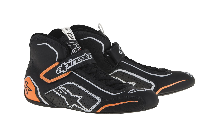 Alpinestars 2710115-1241-8.5 Tech 1-T Shoes, Black/Orange Fluo/Silver, Size 8.5, SFI 3.3 Level 5/FIA, Full-Grain Leather