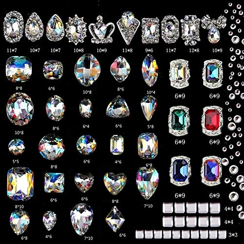 editTime 140 Pieces 3D Luxury Clear Colored Shining Crystals Diamond Nail Art Rhinestones Charms Nail Art Metal Gems Stones Decoration Craft Jewelry for Nail Art DIY (Clear)