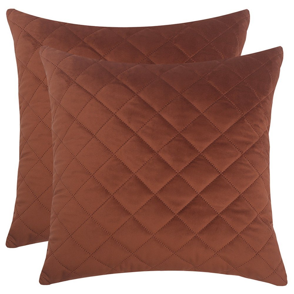 Artcest Set of 2, Decorative Velvet Bed Throw Pillow Case, Sofa Soft Quilted Pattern, Comfortable Couch Cushion Cover (Coffee, 18''x18'', 2 Pieces)