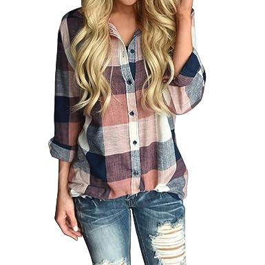 7afd7753de46b9 LINGMIN Women's Plaid Shirts Casual Cuffed Long Sleeve Front Button Down  Blouses