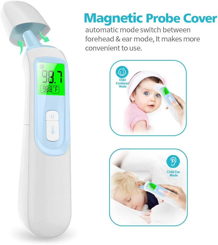 Infrared Digital Ear Thermometer with Fever Alarm and Memory Function for Baby Kids and Adults HEFUT-AOJ01 Non Contact Thermometer for Fever Forehead Thermometer