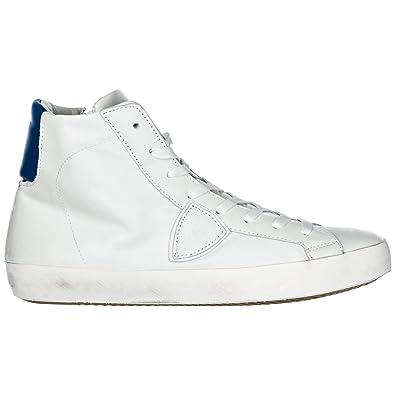 bcd70b9af48f3 Philippe Model Men Paris high-top Sneakers Veau neon Blanc Bluette 8 US