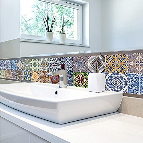 FLFK 48 Units Mexican Talavera Peel & Stick Vinyl Adhesive Tile Stickers for Kitchen and Bathroom Backsplash Decal 7.87x7.87 Inch (20x20cm) by FLFK (Image #3)