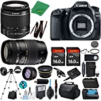 Canon EOS 80D Camera + 18-55mm IS STM + Tamron 70-300mm AF + 2pcs 16GB Memory + Case + Reader + Tripod + ZeeTech Starter Set + Wide Angle + Tele + Flash + Battery + Charger