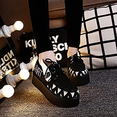 RoseG Mujer Zapatos Plataforma Gótico Punk Creepers Cordones
