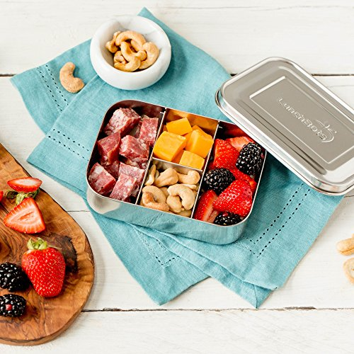 LunchBots Small Protein Packer Snack Container - Mini Stainless Steel Food Box With Portion Control Sections - Great for Nuts, Meat, Cheese and Finger Foods - Eco-Friendly, Dishwasher Safe and Durable by LunchBots (Image #6)