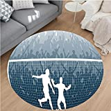 Nalahome Modern Flannel Microfiber Non-Slip Machine Washable Round Area Rug-ion of A Cheering Crowd Silhouette Watching Penalty Kick in Soccer Match Print Blue White area rugs Home Decor-Round 79''