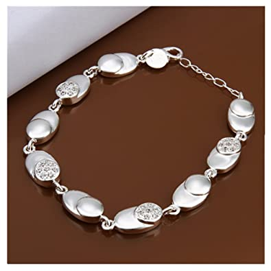 HMILYDYK Simple Chain 925 Sterling Silver Plated Bracelet Rope Ball Drop Bangle VMRezz1ajp