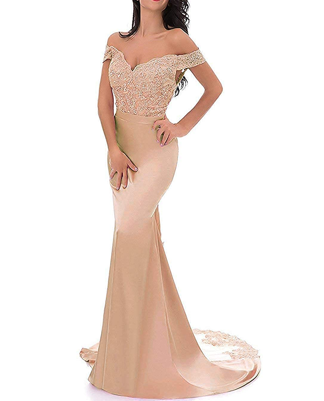 Champagne PearlBridal VNeck Off Shoulder Mermaid Bridesmaid Dresses Lace Long Evening Formal Gown
