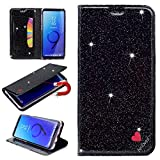 Stysen Galaxy S9 Glitter Wallet Case,Flip Stand Function Cover for Samsung S9,Luxury Noble Shiny Bling Love Heart {Be Loved} Design Ultra Slim Fit Pu Leather Card Slots Folio Kickstand Case Cover for Samsung Galaxy S9-Black