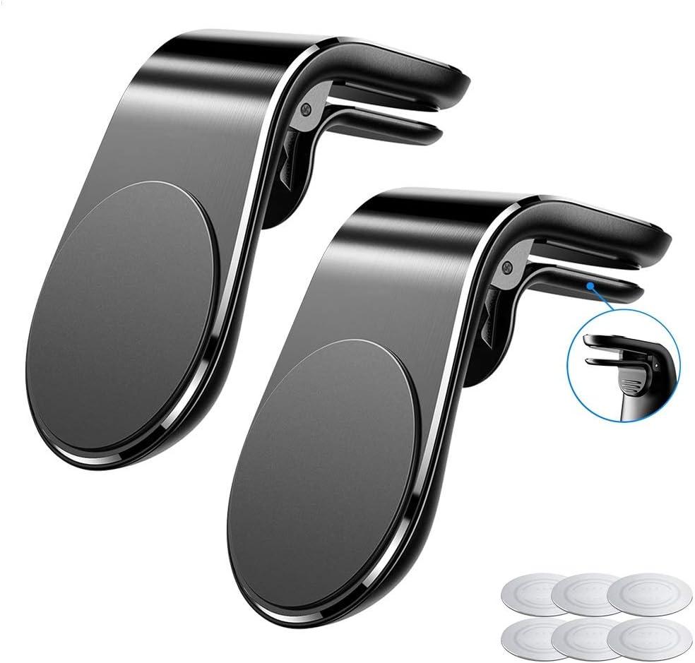 McNory Soporte Magnético Movil Coche,(2 PC) Mini Móvil Coche Iman Rejillas 360°Universal Soporte Teléfono,para iPhone XS MAX/XR/X /8 Plus/7,Galaxy Note9/8/S8,Smartphone,Dispositivo GPS ect