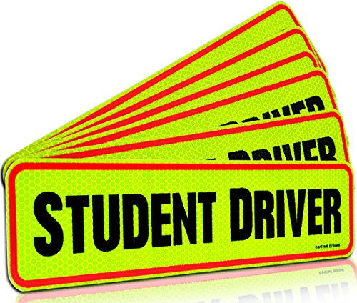 Signs Authority Student Driver Bumper Magnet for New Drivers, Novice or Beginner. Reusable Unlike a Decal or Bumper Sticker. Reflective Magnetic Large Bold Visible Text (Student Driver 6 Pack)