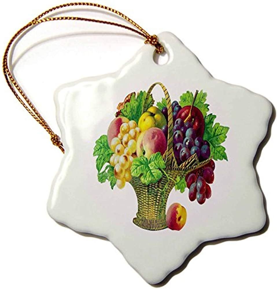 Bowen Rhodes Tall Basket Of Fruits With Grapes, Peaches, Apples & Grape Leaves - Snowflake Ornament, Porcelain, 3-Inch