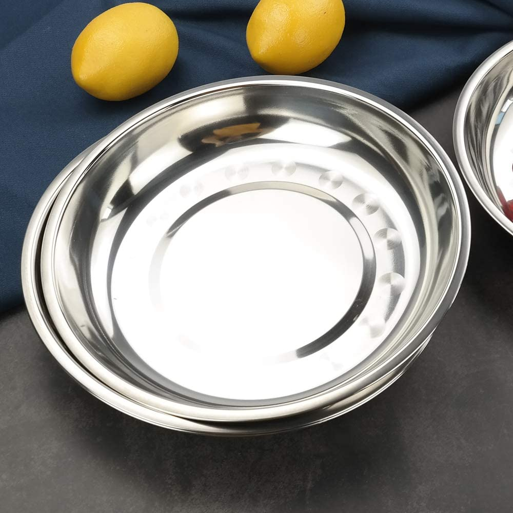 Teyyvn 4-Pack Stainless Steel Dinner Plates Dishes Round Camping Plates 9.20-Inch