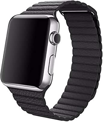 Leather Adjustable Magnetic Closure Wrist Loop Band Strape for 38mm Apple Watch,Black