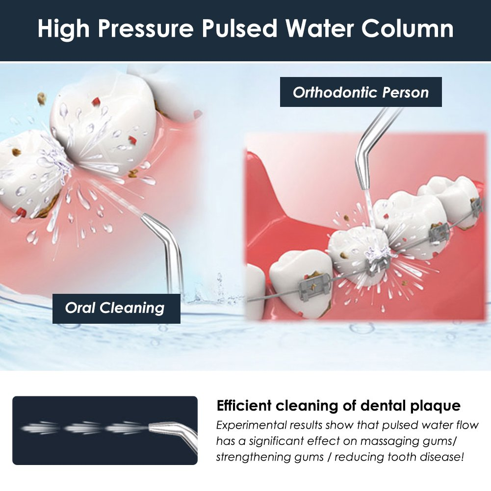 Cordless Water Flosser Teeth Cleaner - Zerhunt High Plus Rechargable Portable Oral Irrigator for Travel, IPX7 Waterproof Dental Water Jet for Shower with 3 Interchangeable Jet Tips by Zerhunt (Image #2)