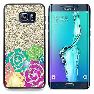 For Samsung Galaxy S6 Edge Plus / S6 Edge+ G928 Case , Glitter Pink Teal Espumoso verde - Diseño Patrón Teléfono Caso Cubierta Case Bumper Duro Protección Case Cover Funda