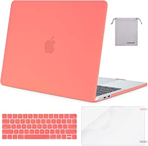 MOSISO MacBook Pro 13 inch Case 2019 2018 2017 2016 Release A2159 A1989 A1706 A1708, Plastic Hard Shell Case&Keyboard Cover&Screen Protector&Storage Bag Compatible with MacBook Pro 13, Living Coral