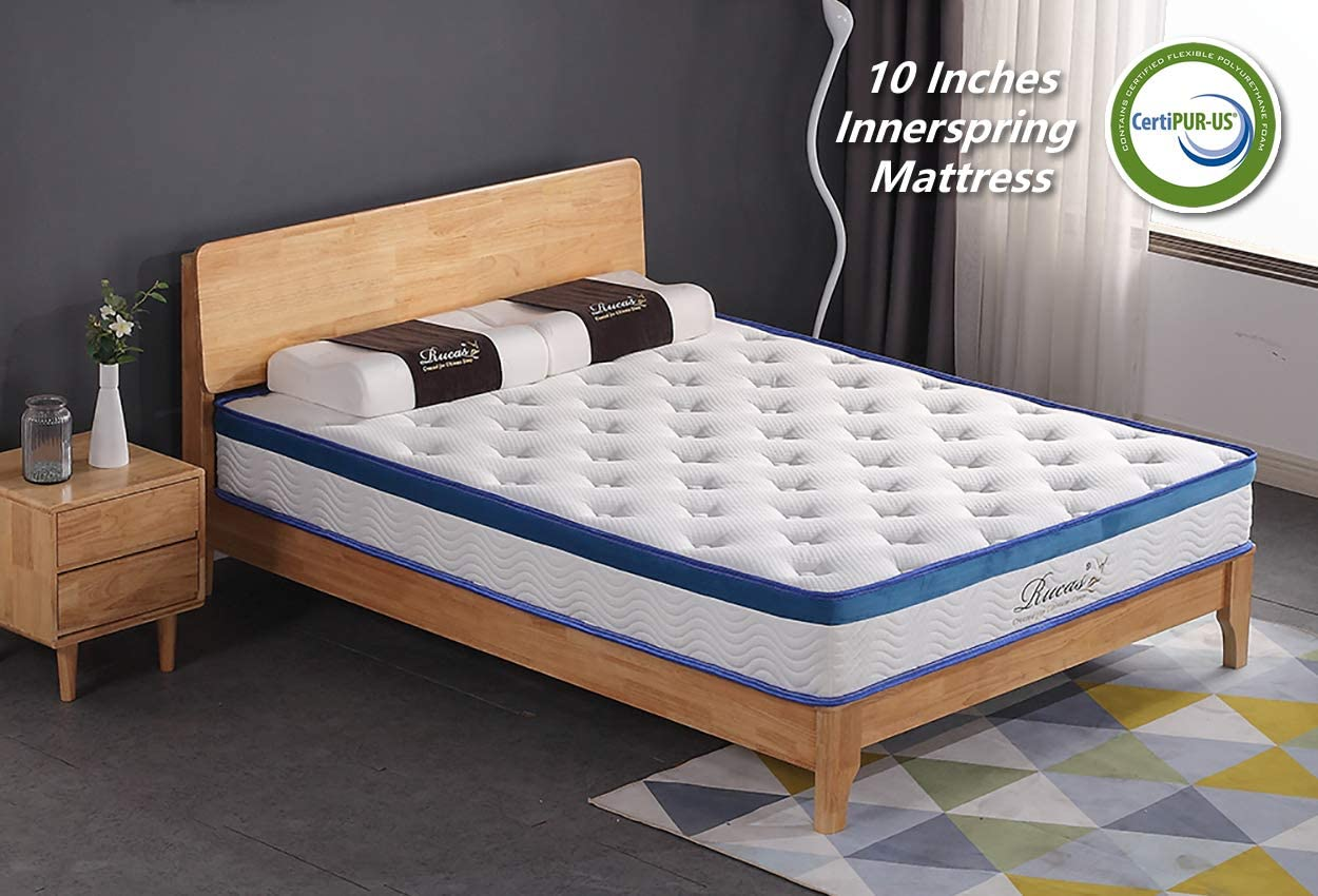 Rucas 10 inch Memory Foam Innerspring Hybrid Mattress CertiPUR-US Certified Adaptive Foam with iCoil System Bed in a Box King