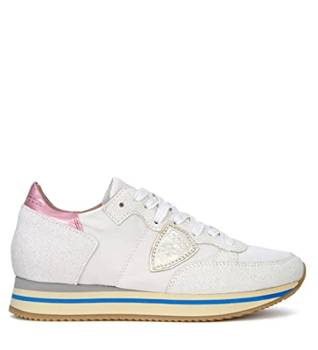 87263eaed800 Philippe Model Women s Tropez Higher Pink and White Fabric Sneaker   Amazon.co.uk  Shoes   Bags
