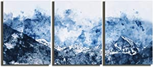 Abstract Canvas Wall Art for Living Room Modern Blue Abstract Mountains Print Poster Picture Artworks for Bedroom Bathroom Kitchen Wall Decor 3 Pieces Framed Ready to Hang
