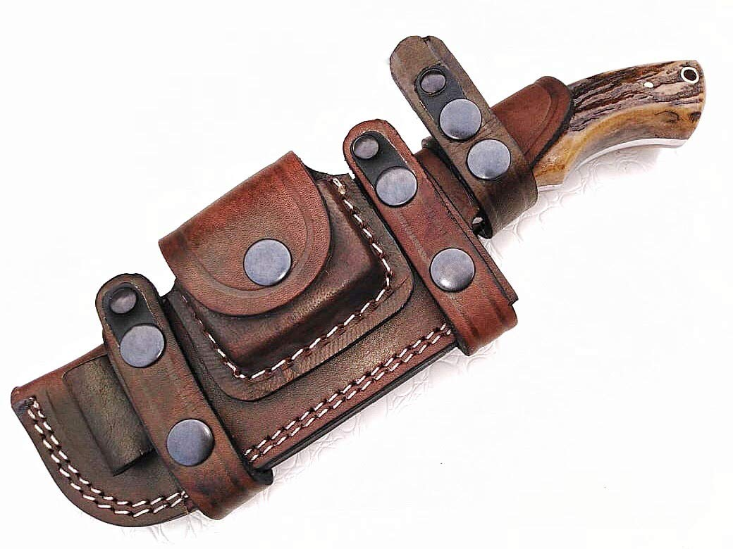 Ottoza Custom Handmade Damascus Tracker Knife with Stag Horn Handle - Survival Knife - Camping Knife - Damascus Steel Knife - Damascus Hunting Knife with Sheath Horizontal Scout Knife No:114