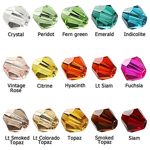 BRCbeads Crystal Glass Beads Finding Spacer Charms 1500pcs Faceted Bicone Shape 4mm Assorted Colors include Plastic Jewelry Container Box Wholesale Mix lot for jewelery making
