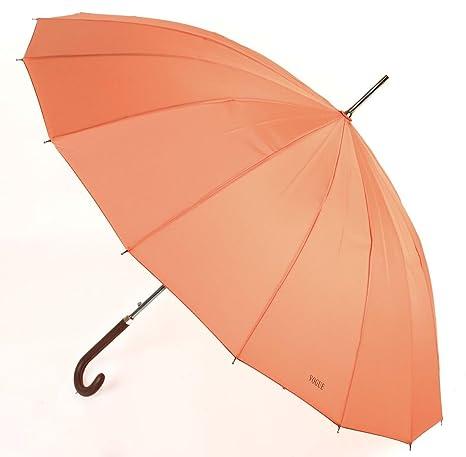 Paraguas Largo Mujer de 16 Varillas. Paraguas Vogue Color Coral
