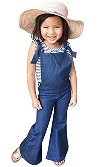 c73b46bf1721 Amazon.com  UNIQUEONE Toddler Girl Summer Sleeveless Backless Strap Denim  Overall Romper Jumper Bell Bottom Trousers Clothes  Clothing