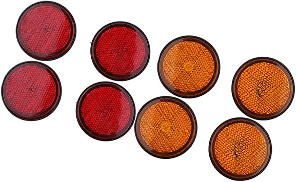 Almencla 8 Stück Rund Reflektor Katzenauge Rückstrahler E Prüfzeichen Ø 55mm Rot Orange Schraubbar Leichter Einbau Auto