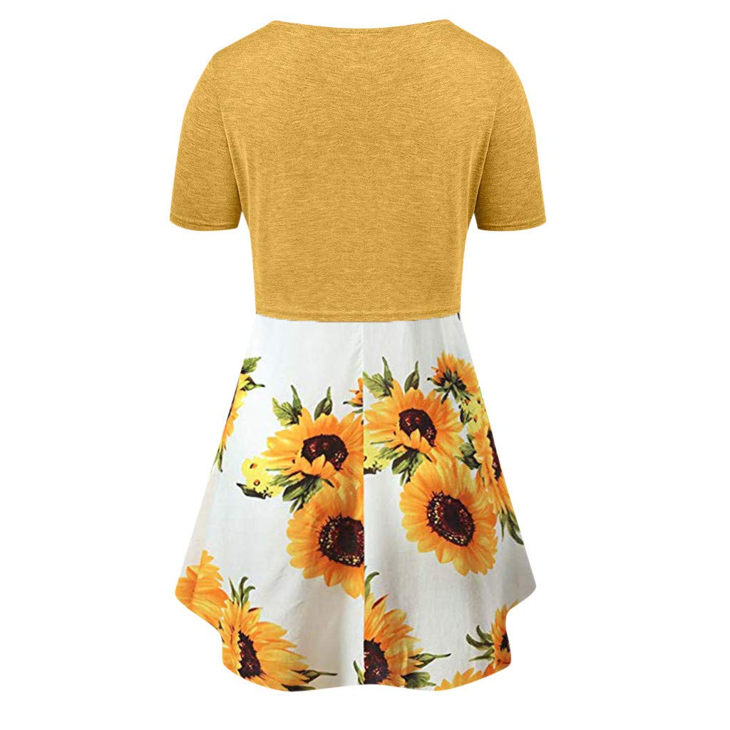 HULKY Elegant Women Dresses,Casual Cami Boho Floral Flower Printed Bow Knot Bandage Top Sunflower Mini Dress Tunic Skirt Set
