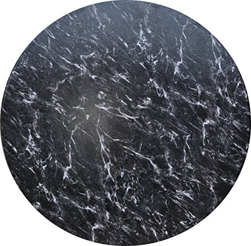 (Fitted Vinyl Tablecloth Round - Fits 44 to 48 inch Tables (Black Marble))