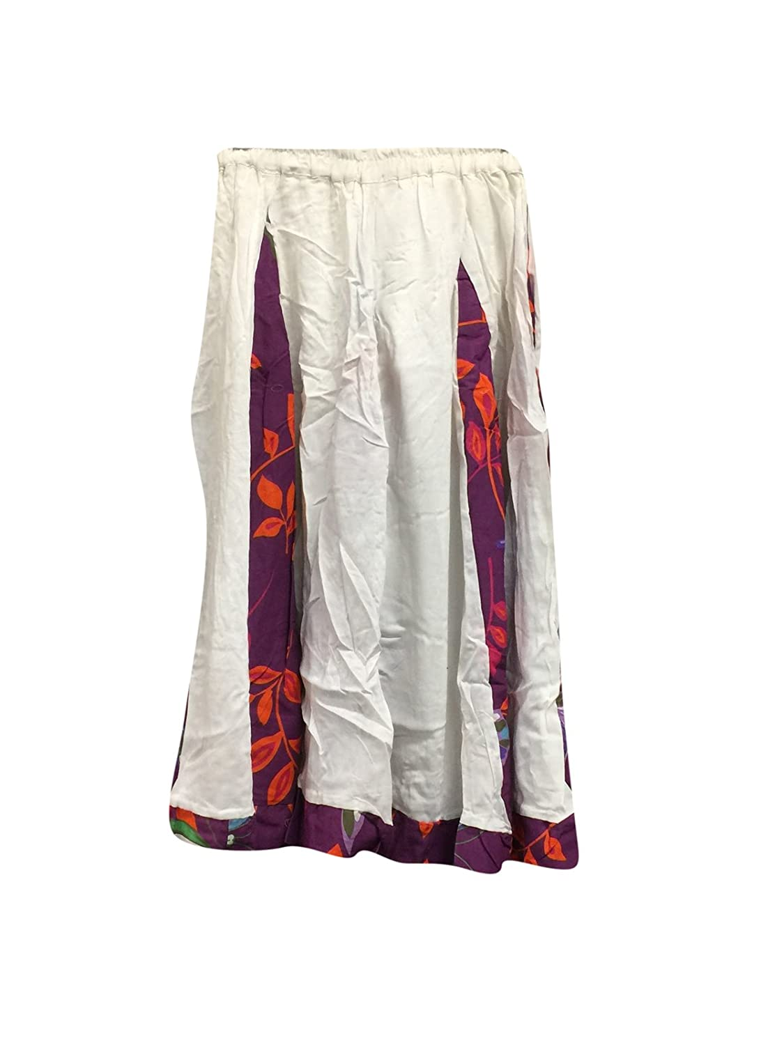 Mogul Interior Womens Retro Skirt White Bohemian Gyspy Flirty Mid Calf Skirts