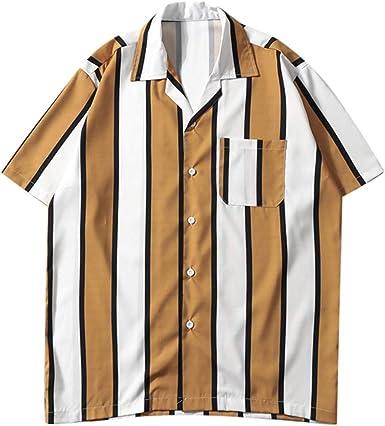Dragon868 Camisas de Rayas Casuales Hombre Camisa de Manga