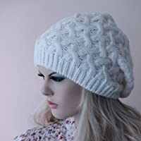 Knit slouchy hat, Beanie ivory off white colored