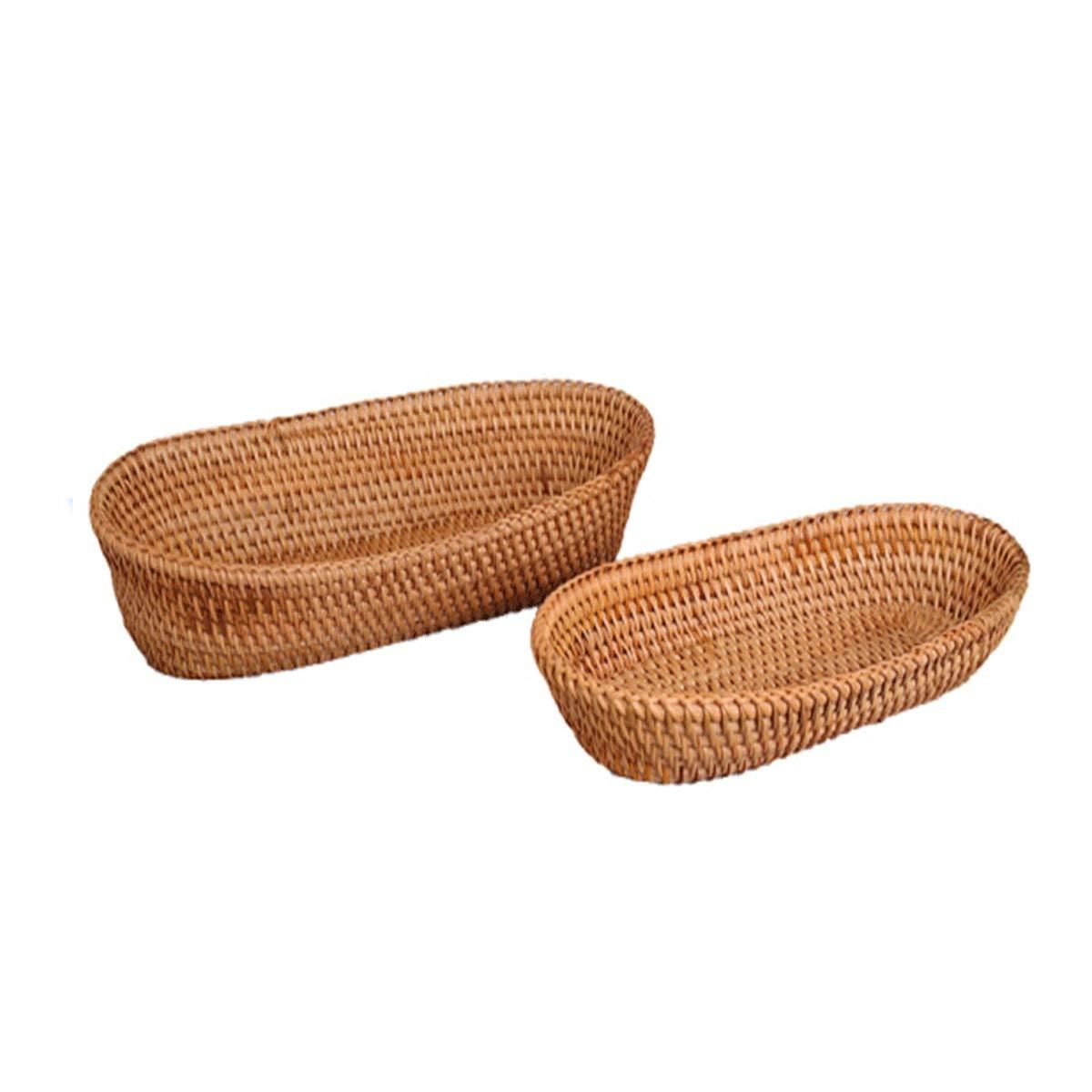 Muziwenju Rattan Bread Basket, Egg and Fruit Basket, Sugar Cake Basket, Vegetable Basket, Food Basket, Small/Large Size, (Size : S)
