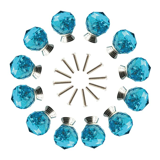 ANJUU 12 Pcs 30mm Round Shape Crystal Glass Cabinet Knobs with Screws Drawer Knob Pull Handle Used for Kitchen, Dresser, Door, Cupboard (Azure)