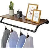 """OROPY Industrial Pipe Clothes Rack 38.6"""" Length, Heavy Duty Wall Mounted Black Iron Garment Bar, Multi-Purpose Clothing…"""