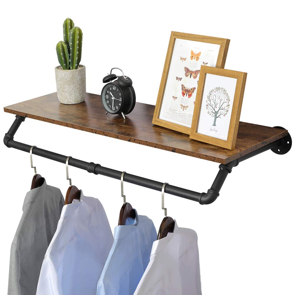 """OROPY Industrial Pipe Clothes Rack 38.6"""" Length, Heavy Duty Wall Mounted Black Iron Garment Bar, Multi-Purpose Clothing Hanging Rod for Laundry Room and Closet Storage (No Planks)"""